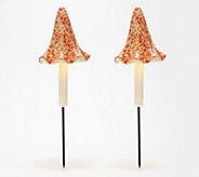 Barbara King Set of 2 Illuminated Mushroom Garden Stakes - M60624