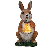 Plow & Hearth Resin Animal Statue Holding Lantern Jar - M52329