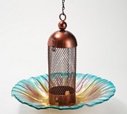Ultimate Innovations Multi-Colored Glass & Metal Bird Feeder - M64932