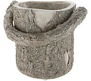 Martha Stewart Faux Bois Bucket Planter with Handle - M59047