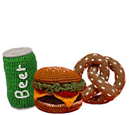 Ware of the Dog Tailgating Set of 3 Handknit Dog Toys - M120350