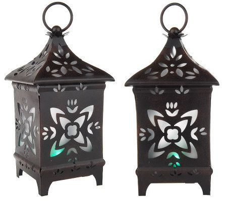 solar powered decorative lanterns set of 2 solar powered decorative metal lanterns page 1 5594
