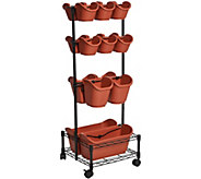 Watex Double Sided Mobile Planter Rack with 18 Pots - M57556