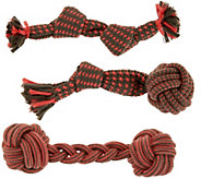 Martha Stewart Set of 3 Assorted Rope Toys for Small Dogs - M57261