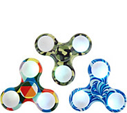 Set of 3 LED Illuminated Patterned Fidget Spinner Gadgets - M55064