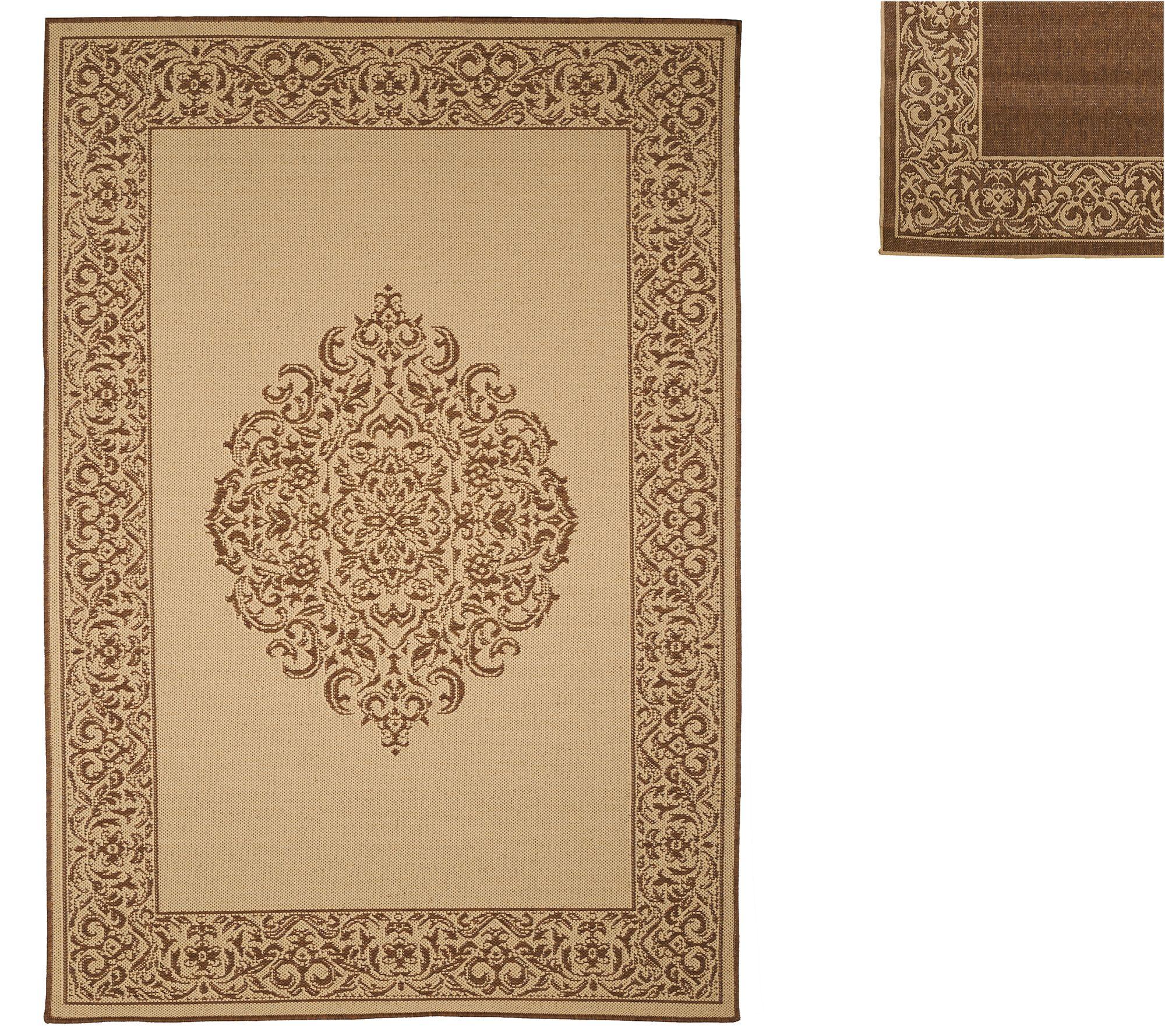 veranda living naturals indoor outdoor 5x7 medallion reversible rug page 1. Black Bedroom Furniture Sets. Home Design Ideas