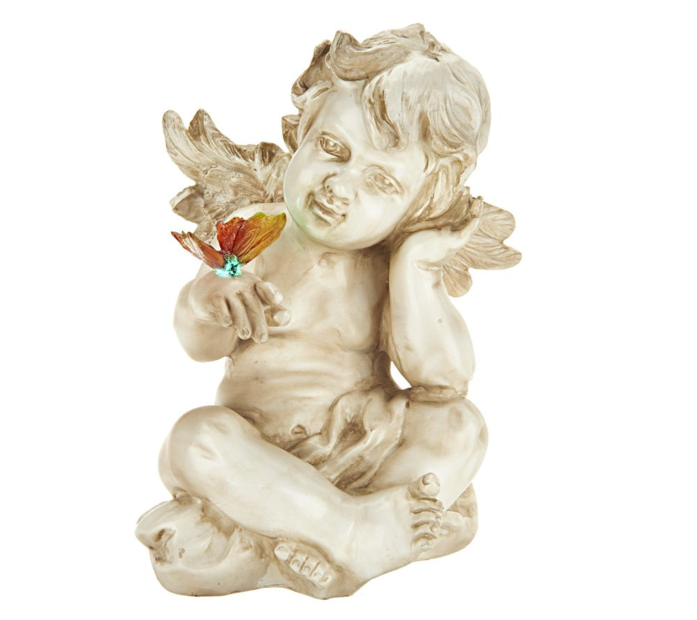 Exceptionnel Solar Powered Delilah Cherub Garden Light With Butterfly   Page 1 U2014 QVC.com