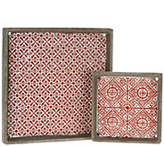 Barbara King Set of 2 Stamped Cement Trays - M52076