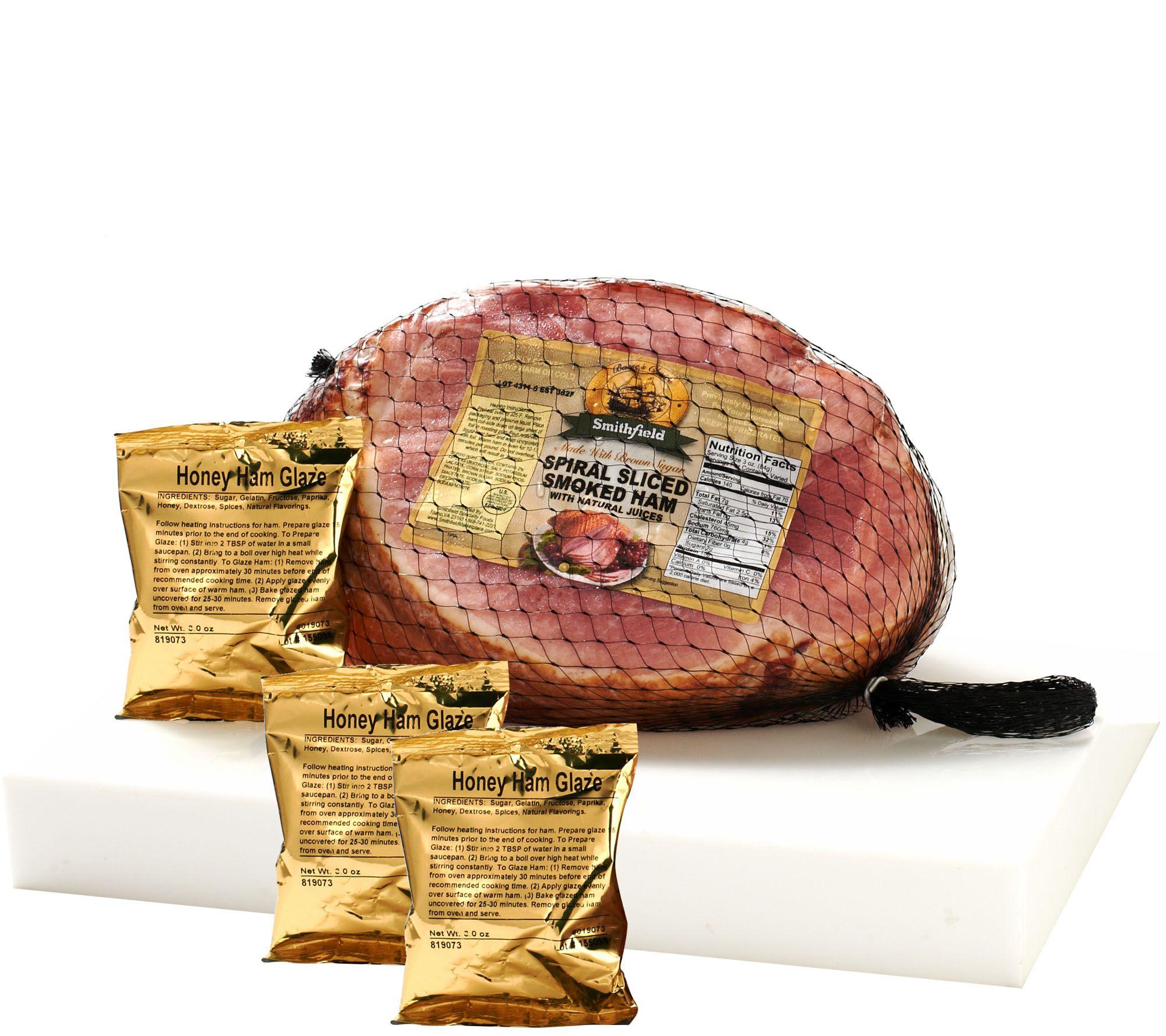 Smithfield 8 9 Lbs Bone In Ham With 3 Glaze Packs Page 1 Qvc
