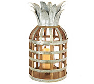 Barbara King 17.5 Wood and Metal Pineapple Lantern with Candle - M58681