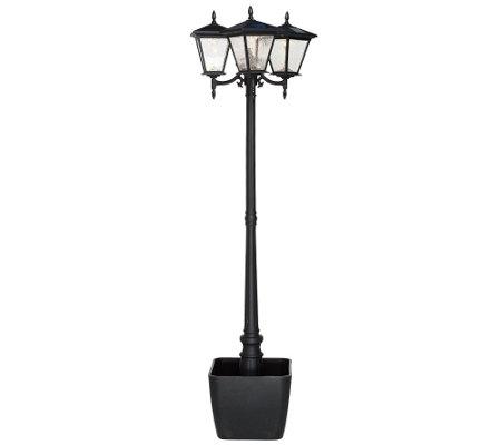 Energizer Solar 3 Head Lamp Post W Detachable Planter On