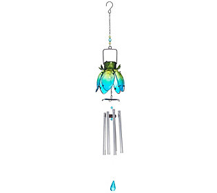Solar Metal and Glass Flower Wind Chime