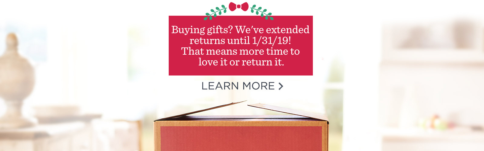 Buying gifts? We've extended returns until 1/31/19! That means more time to love it or return it. Learn more