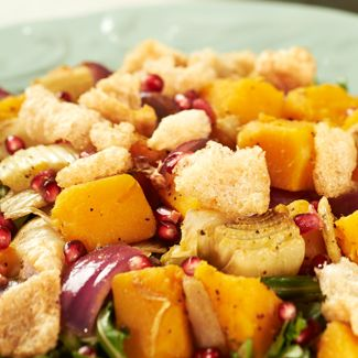 Warm Butternut Squash Salad with Pomegranate Dressing