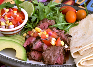 Carne Asada with Tomato Corn Salsa, Avocado & Arugula