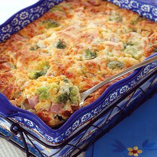 Cheesy Ham & Broccoli Spoonbread'