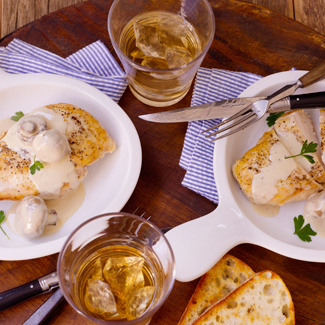 Chicken Breast with White Wine & Mushroom Cream Sauce