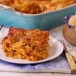 Classic Lasagna with Mozzarella-Stuffed Garlic Rolls