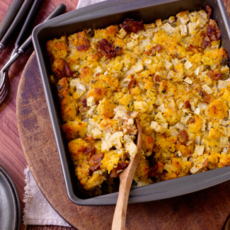 Cornbread Stuffing with Apples & Bacon