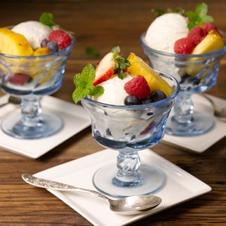 Grilled Pineapple with Fresh Fruit  and Vanilla Ice Cream