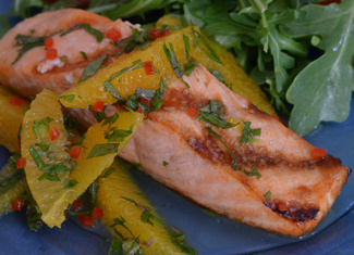 Grilled Salmon with Orange-Lime Mint Salsa