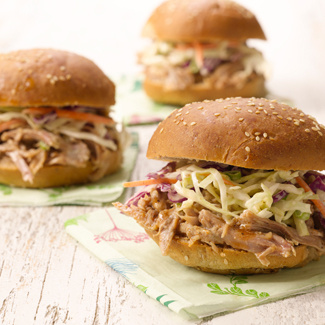 Healthy Slow Cooker Pulled Pork with Light & Tangy Coleslaw