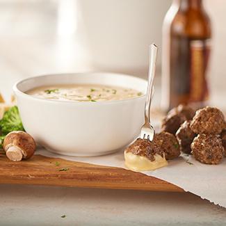 Mushroom Meatballs with Swiss Cheese Fondue