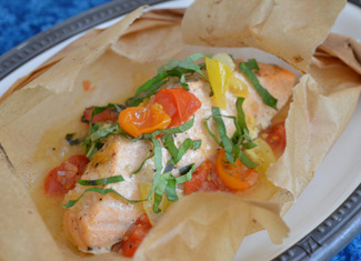 Salmon en Papillote with Tomatoes & Basil