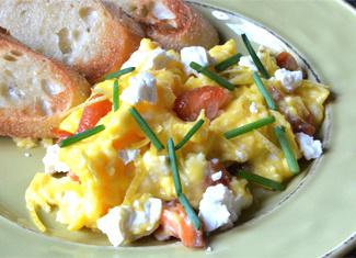 Scrambled Eggs with Honey Smoked King Salmon, Feta, Lemon & Chives