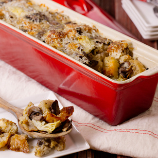 Side Stuffing with Artichokes and Cremini Mushrooms