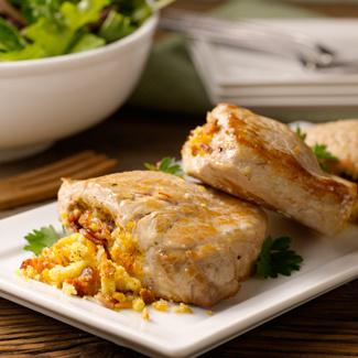 Three Cheese & Bacon-Stuffed Pork Chops