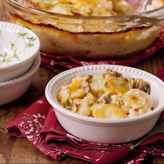 Three Cheese Scalloped Potatoes with Italian Sausage