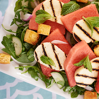 Watermelon Salad with Cornbread Croutons