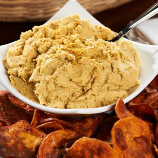 Garlic-Curry Hummus & Sweet Potato Chips