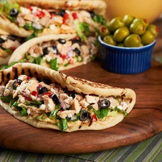Grilled Chicken Salad Flatbread Sandwiches