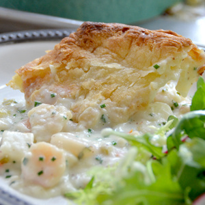 Seafood Potpie with Puff Pastry Top