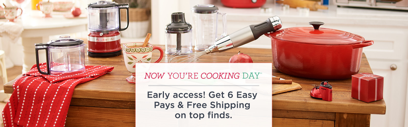 Now You're Cooking Day(SM) —Holiday Edition - Early access! Get 6 Easy Pays & Free Shipping on top finds.