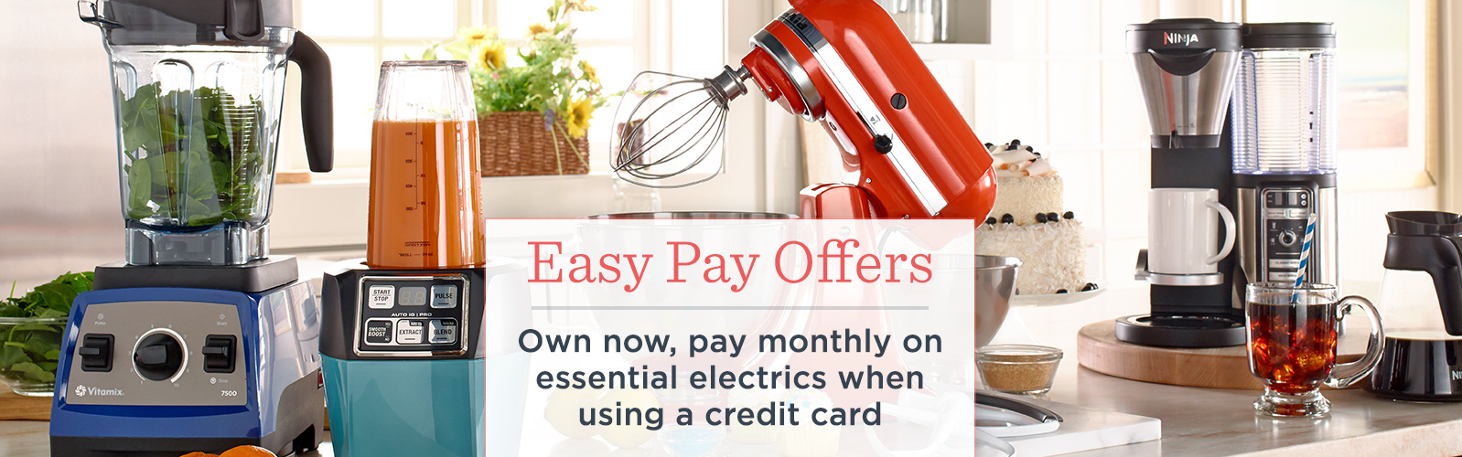 Easy Pay Offers. Own now, pay monthly on essential electrics when using a credit card