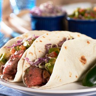 Steak Tacos with Chipotle Slaw & Avocado Salsa