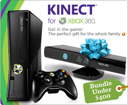 Microsoft 4GB Xbox 360 with Kinect & 2 games