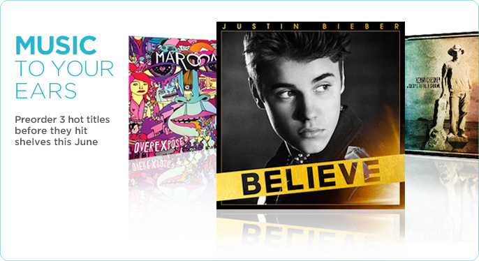 Kenny Chesney Welcome to the Fishbowl; Justin Bieber Believe; Maroon 5 Overexposed