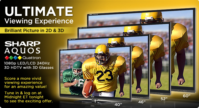 Sharp AQUOS Quattron1080p LED/LCD 240Hz 3D HDTV with 3D Glasses