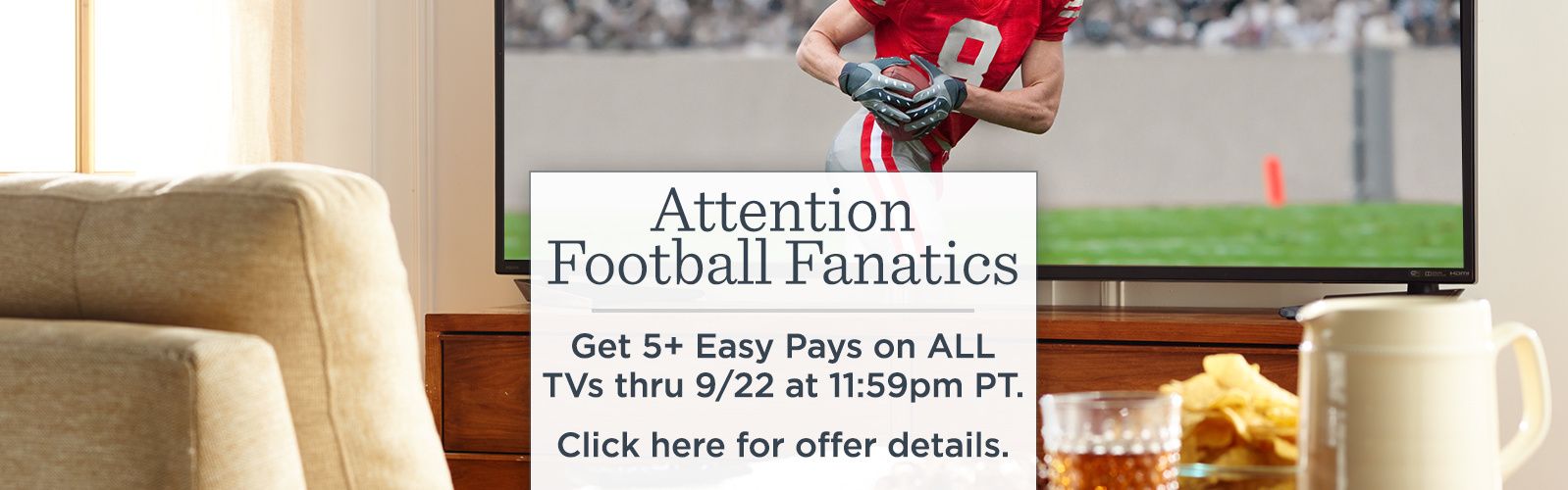 Attention Football Fanatics - Get 5+ Easy Pays on ALL TVs thru 9/22 at 11:59pm PT.  Click here for offer details.
