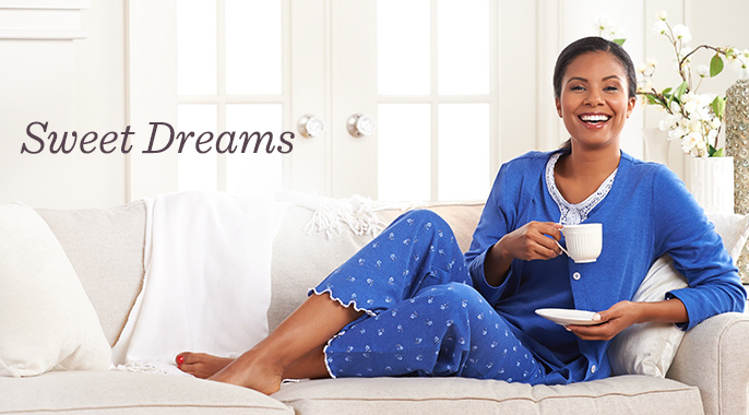 Carole Hochman Rose Bud Pajama Set with Lace Trim