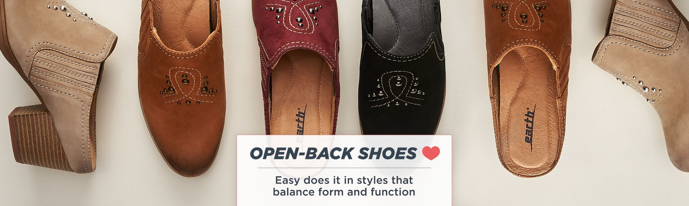 Open-Back Shoes. Easy does it in styles that balance form and function