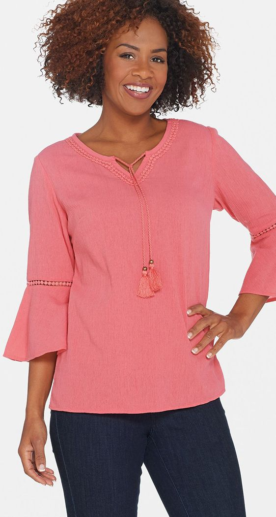 WOMAN WITHIN PINK COTTON SHIRT BLOUSE TOP PLUS SIZE LONG LENGTH TO CLEAR