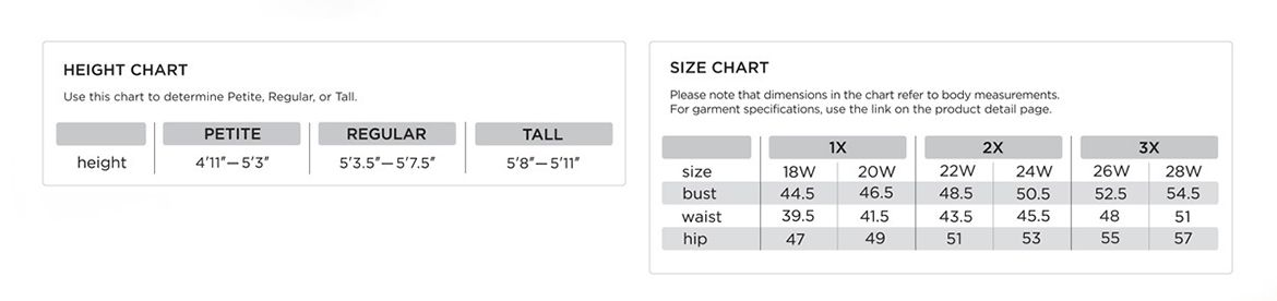 Height & Size Chart