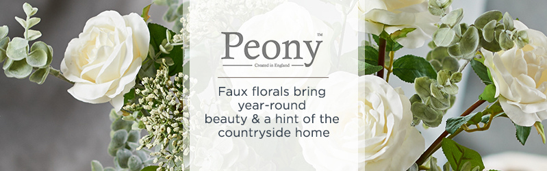 Peony.   Faux florals bring year-round beauty & a hint of the countryside home
