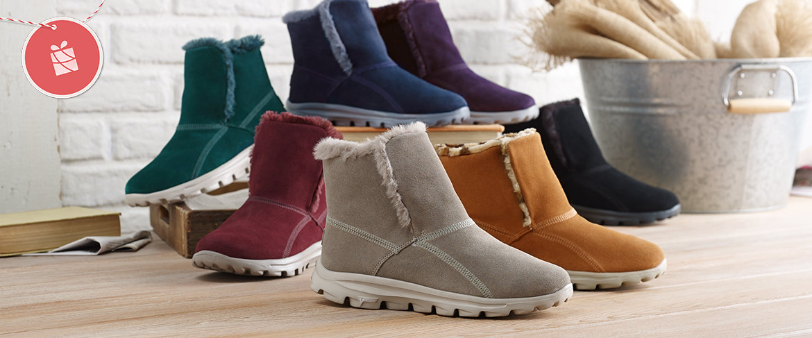 get new wide range huge selection of QVC) Skechers GOWalk Suede Faux Fur Boots w/ Goga Mat ...