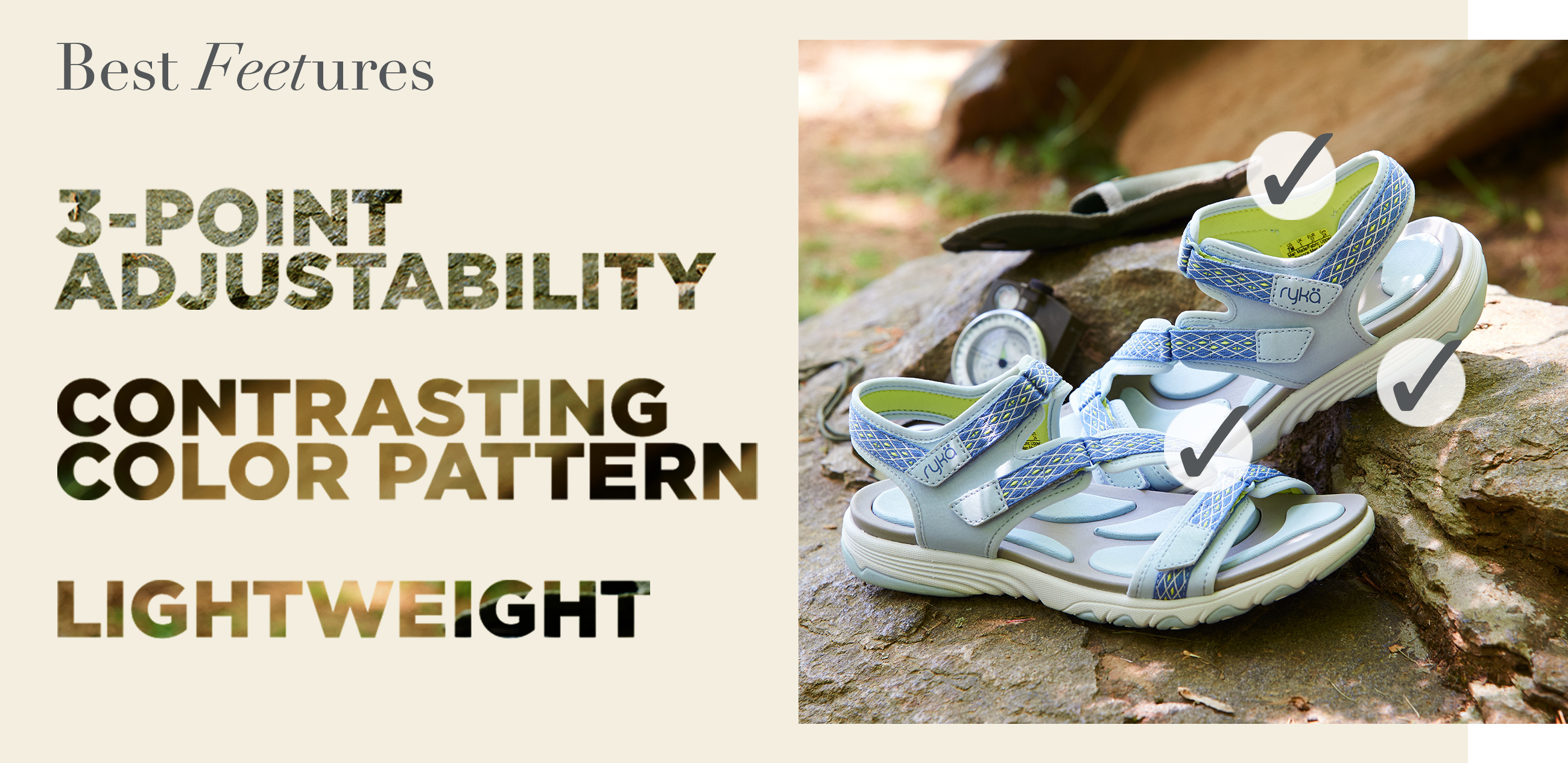 Best Feetures. 3-POINT ADJUSTABILITY  CONTRASTING COLOR PATTERN  LIGHTWEIGHT